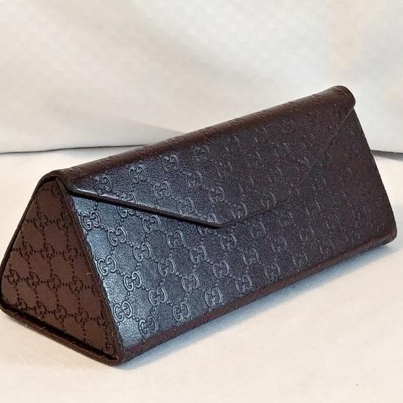 brand new 6e2ab 00e35 Gucci Sunglass Brown Leather Tri-fold Button Case